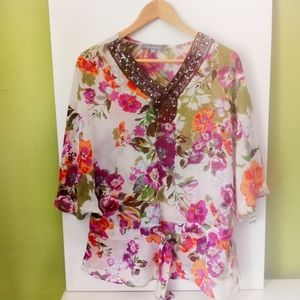 NY Collection Swingy Floral Boho Embellished Top